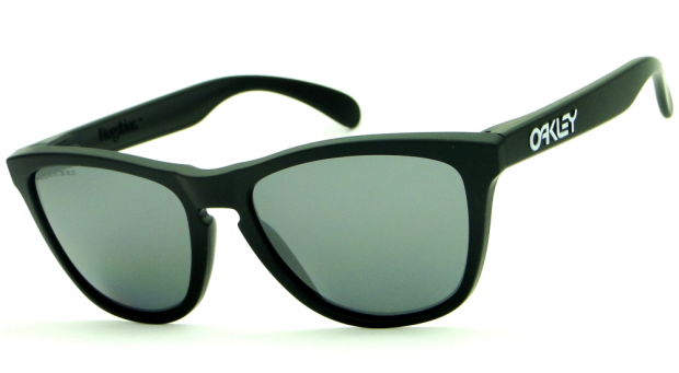 7a62402e13410 OAKLEY FROGSKINS MATTE BLACK BLACK IRIDIUM POLARIZED – ÓCULOS DE SOL    Ótica Achei Meus Óculos